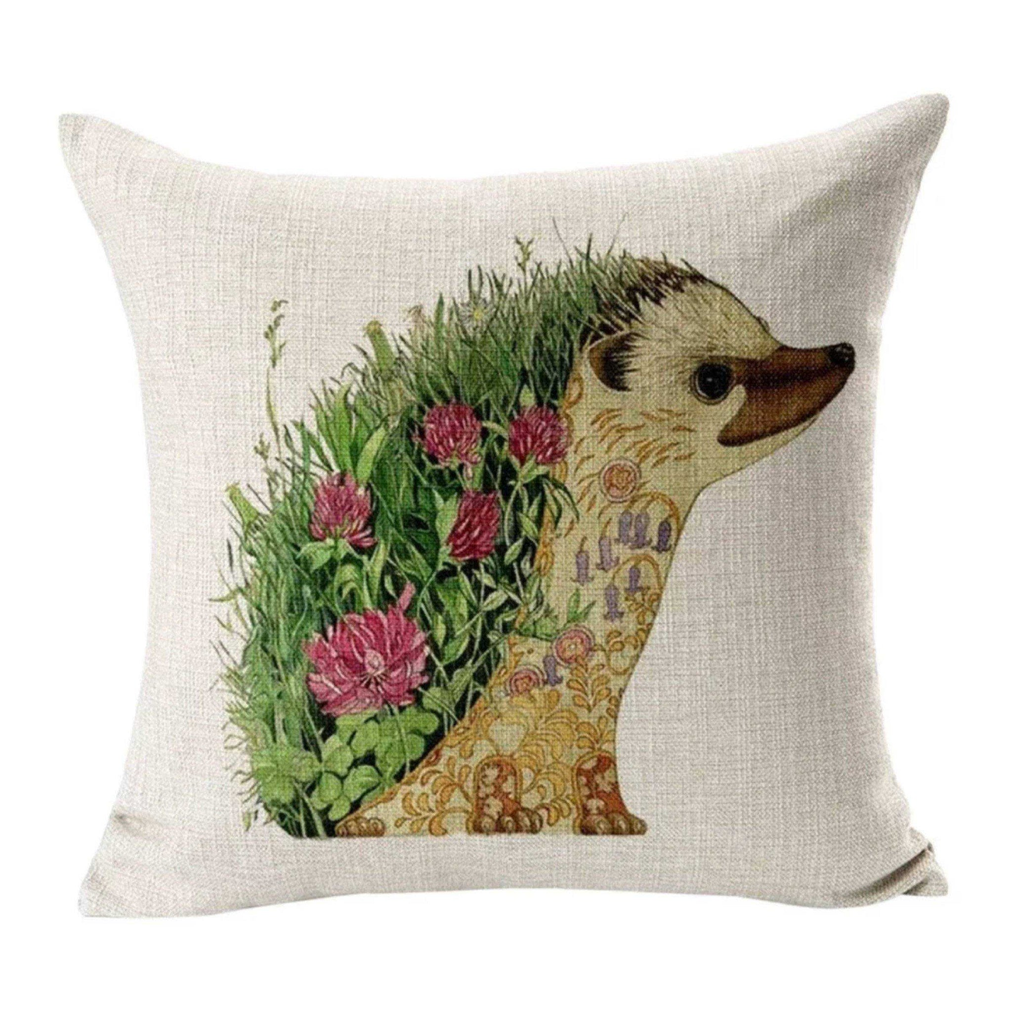 Cushion Pillow Cute Hedgehog with Pink Flowers - The Renmy Store