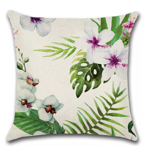 Cushion Pillow Tropical Hibiscus White & Pink with Orchids Flowers Cushions, Decorative Pillows The Renmy Store