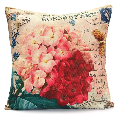 Cushion Pillow Hydrangea Flowers Pink & Red - The Renmy Store
