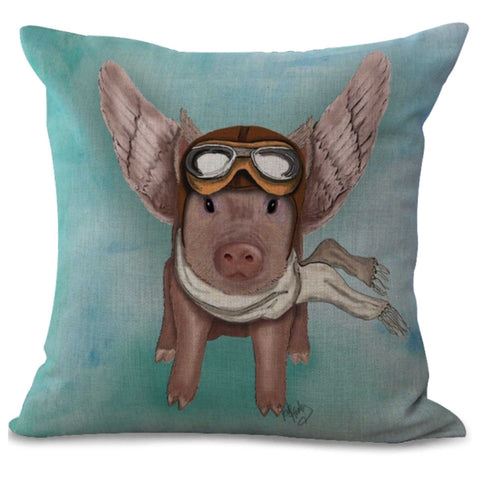 Cushion Pillow Pig Piggy Flying Aeroplane Plane Retro Fun - The Renmy Store