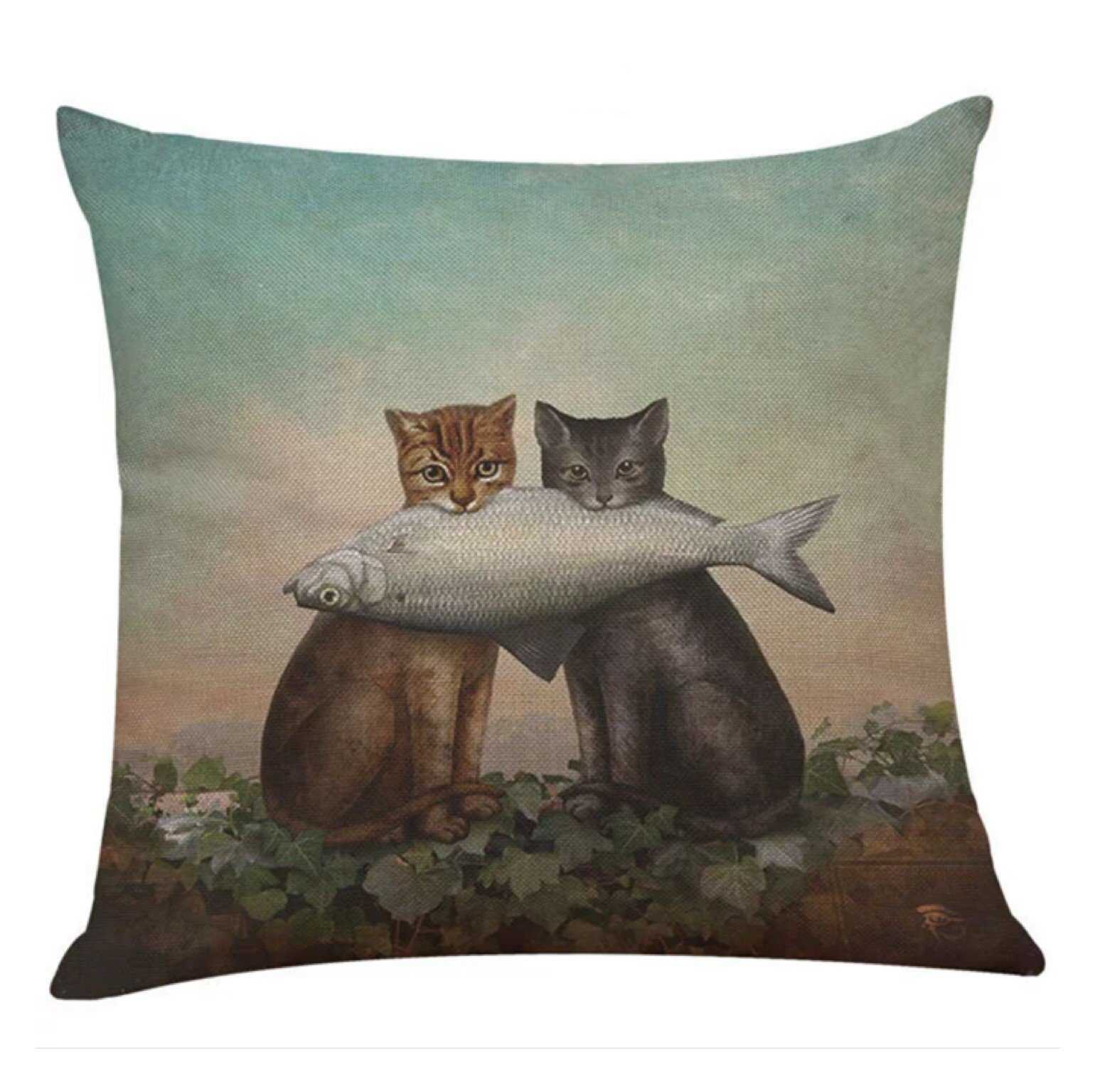 Cushion Pillow Cat Cats with Fish