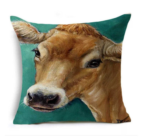 Cushion Pillow Cow Rustic Green Farmhouse - The Renmy Store