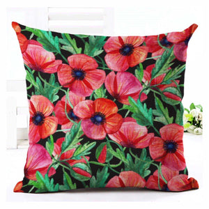 Cushion Pillow Floral Red Poppies - The Renmy Store