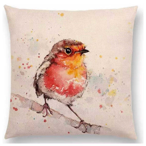Cushion Pillow Bird Little Red Robbin Cushions, Decorative Pillows The Renmy Store