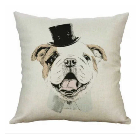 Cushion Pillow Bull Dog Rollie with Top Hat