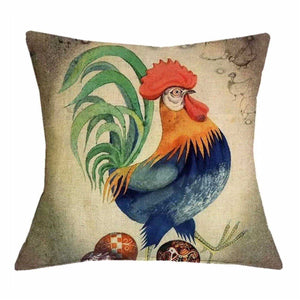 Cushion Pillow Rooster with Green Tail Cushions, Decorative Pillows The Renmy Store