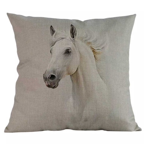 Cushion Pillow White Horse - The Renmy Store