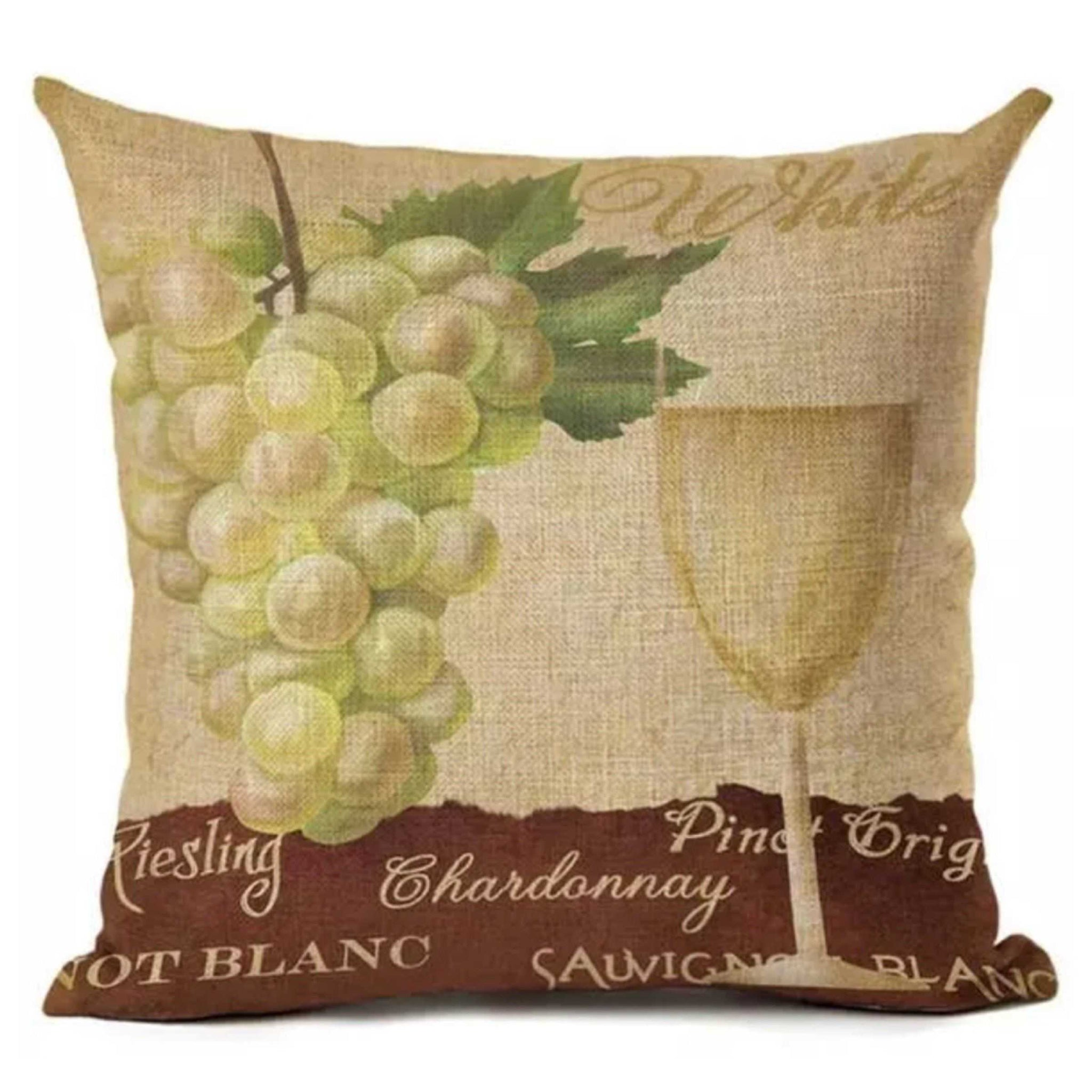 Cushion Pillow Vintage White Riesling Wine Cushions, Decorative Pillows The Renmy Store