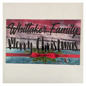 Merry Christmas Your Family Name Colourful Vintage Custom Sign Wall Plaque or Hanging Plaques & Signs The Renmy Store