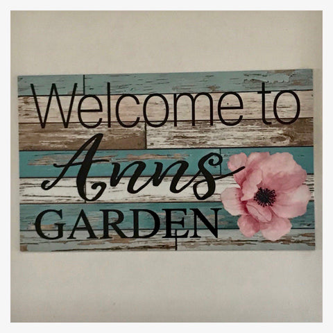 Welcome To Your Name Garden Custom Sign with Flower - The Renmy Store