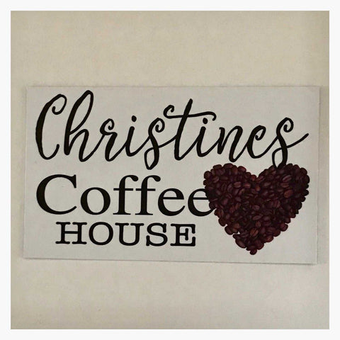 Coffee House Cafe White Your Name Vintage Custom Sign Wall Plaque or Hanging - The Renmy Store