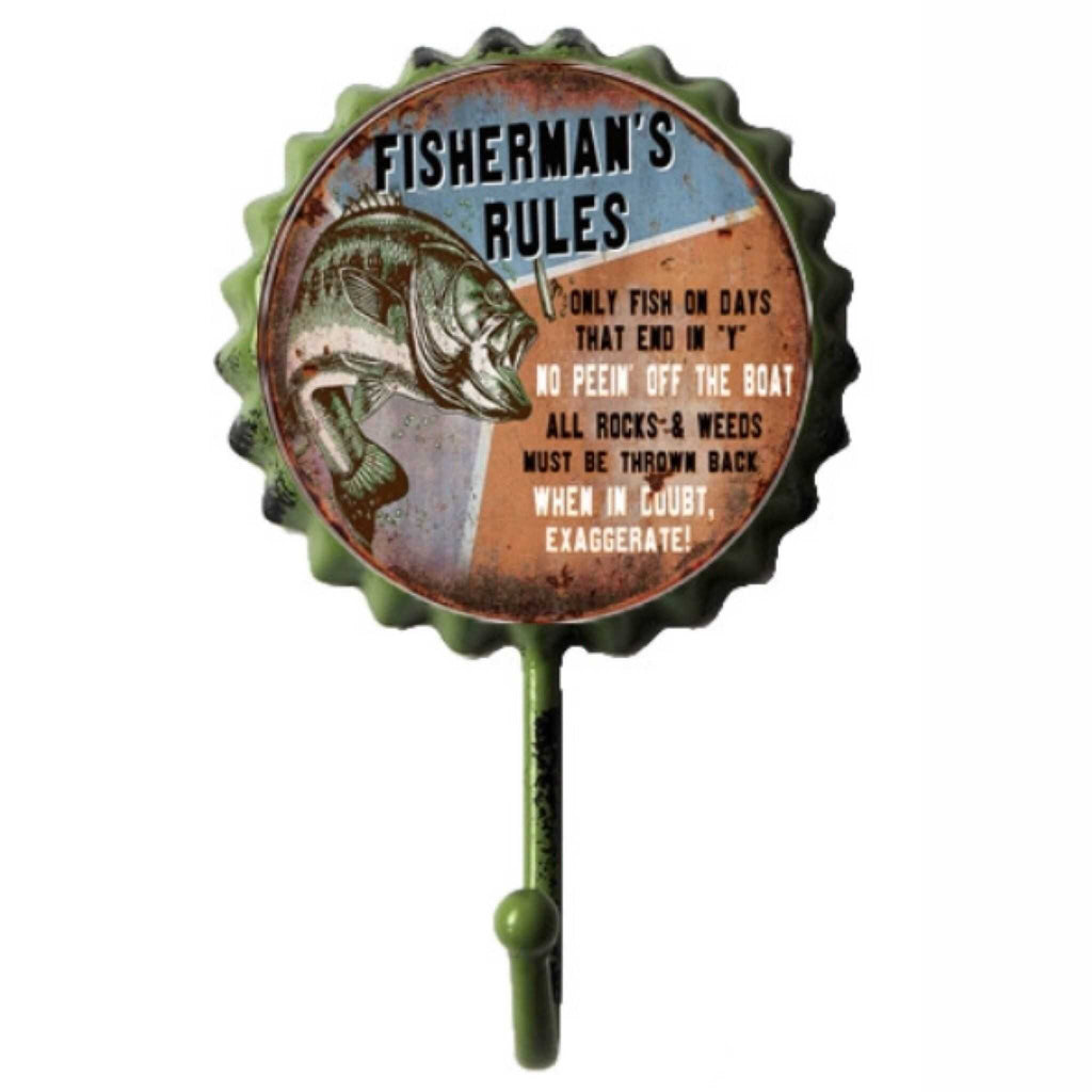 Hook Fishermans Rules Rustic Fishing - The Renmy Store