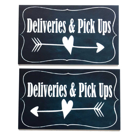 Deliveries & Pick Ups Vintage Black with Arrow Sign - The Renmy Store