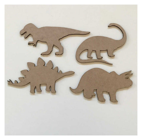 Dinosaur Set of 4 Timber MDF Raw DIY | The Renmy Store