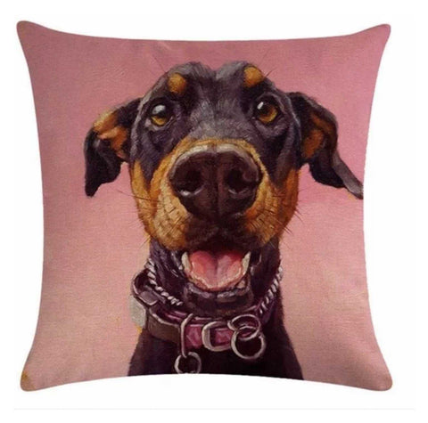 Cushion Pillow Black Dog Woof Pink