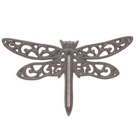 Dragonfly Cast Iron Metal Thermometer Weather Temperature