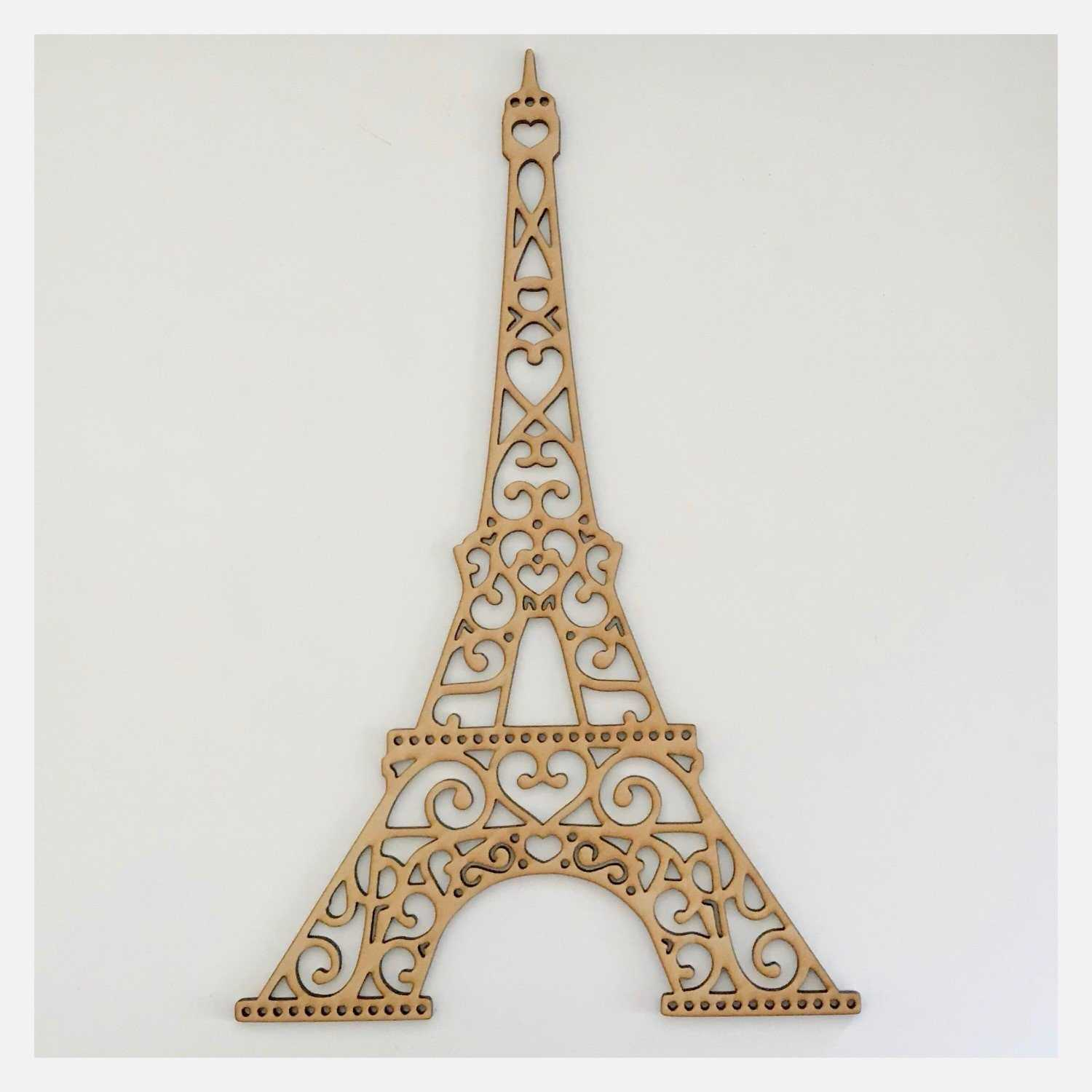 Eiffel Tower French Decorative Scroll DIY Raw MDF Timber - The Renmy Store
