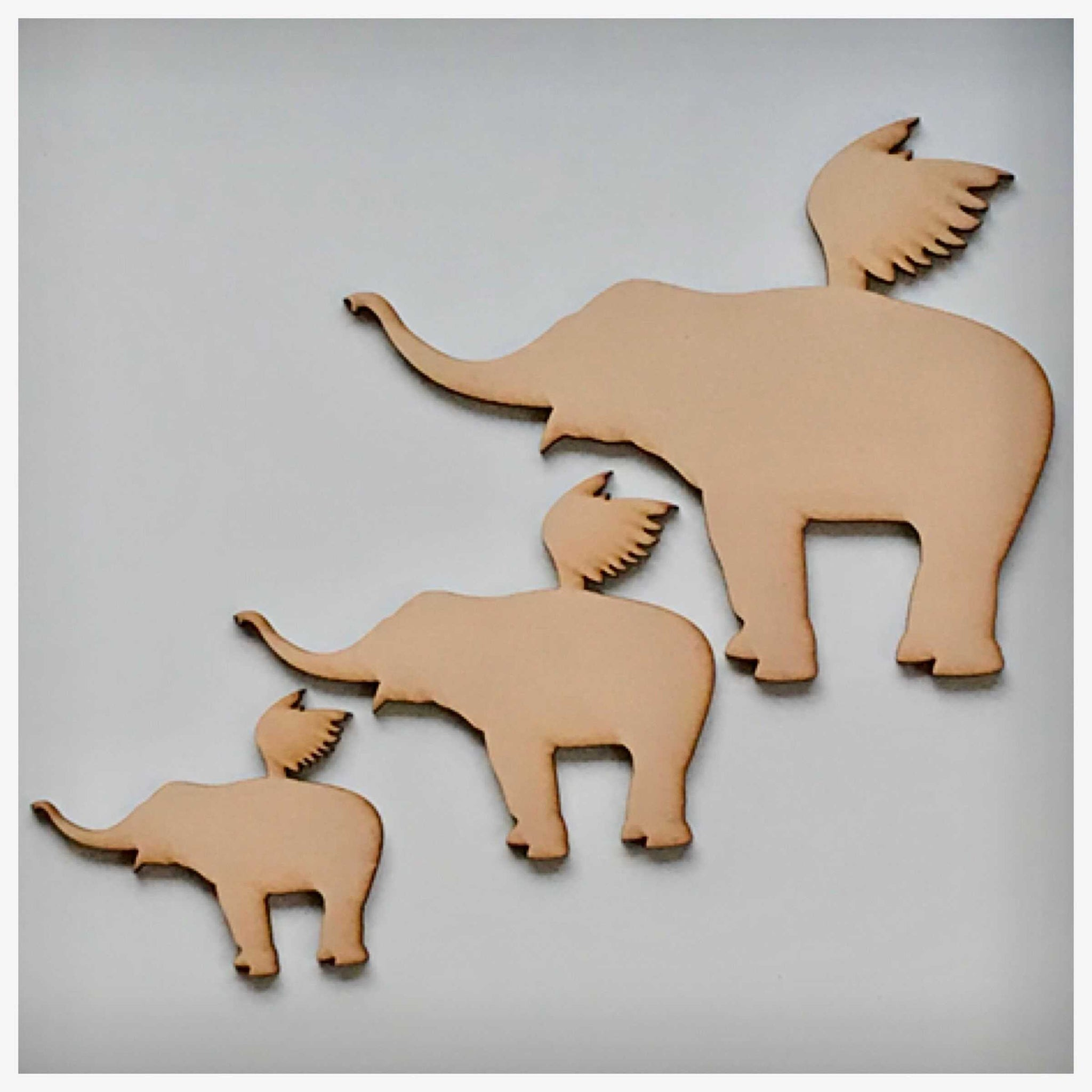Elephant Set of 3 Flying Elephants MDF Shape DIY Raw Cut Out Art Craft Decor