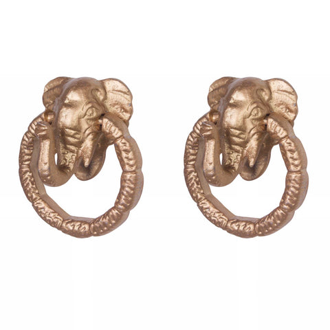 Knob DIY Set of 2 Gold Elephant | The Renmy Store