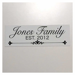 Custom Your Family Name and Year White Sign Wall Plaque or Hanging - The Renmy Store
