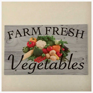 Farm Fresh Vegetables Market Timber Look Sign Plaque or Hanging