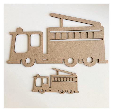 Fire Truck x 2 MDF Wooden Shape DIY Cut Out Art Craft Decor