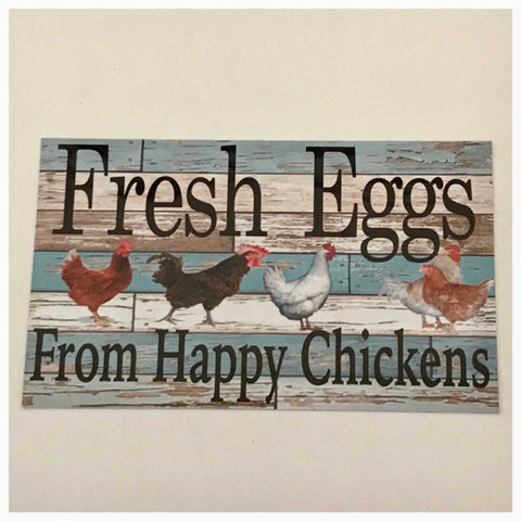 Fresh Eggs From Happy Chickens with Blue Timber Look Sign Wall Plaque Or Hanging - The Renmy Store