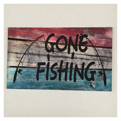 Gone Fishing Red Blue & White Timber Sign Plaque Or Hanging - The Renmy Store