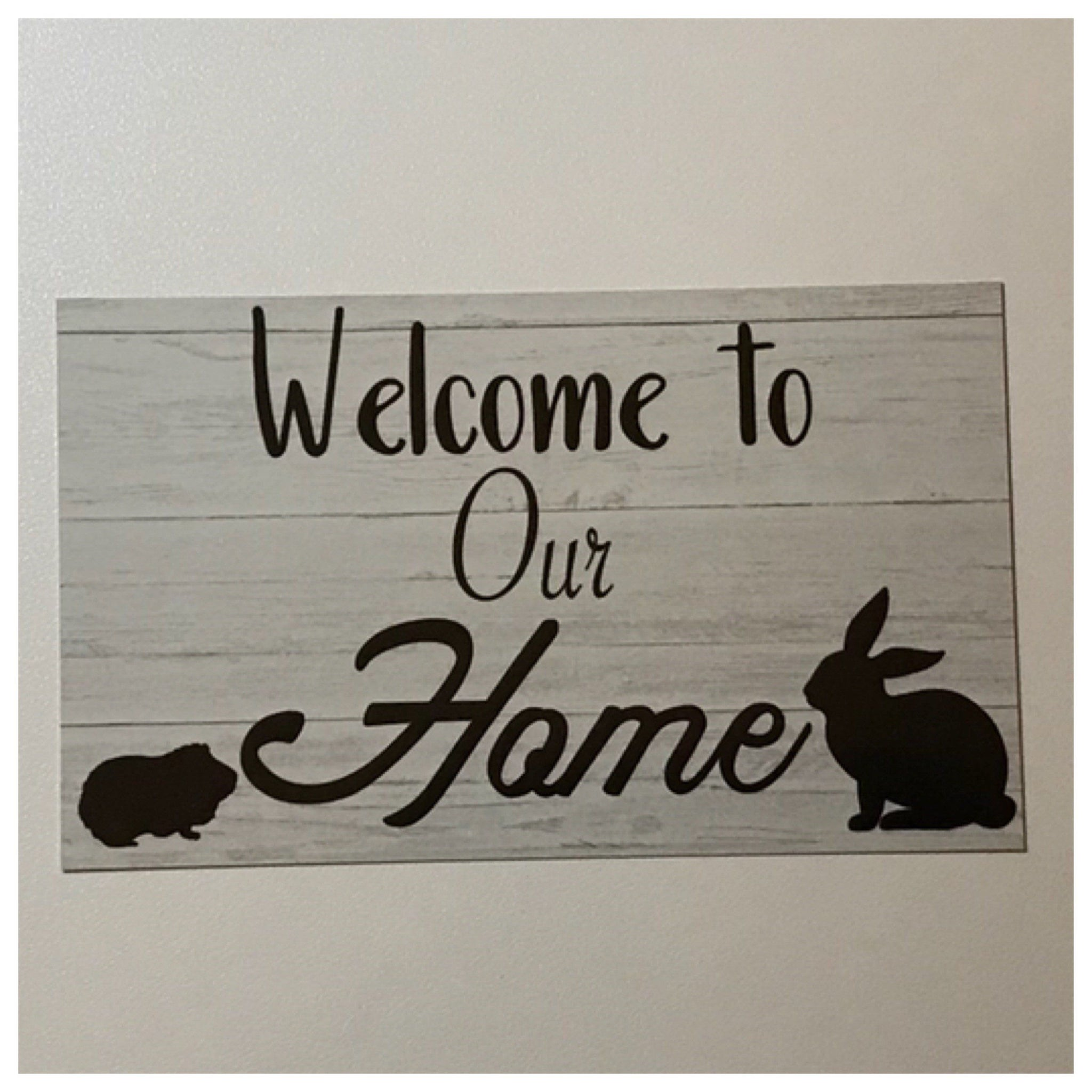 Welcome To Our Home Rabbit & Guinea Pig Sign Wall Plaque or Hanging Plaques & Signs The Renmy Store