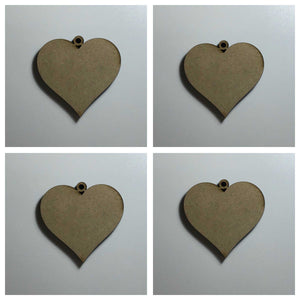 Hanging Heart x 4 Raw Hearts Timber MDF Other Home Décor The Renmy Store