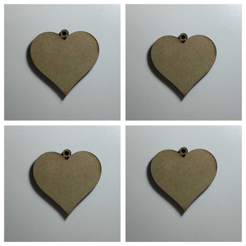 Hanging Heart x 4 Raw Hearts Timber MDF