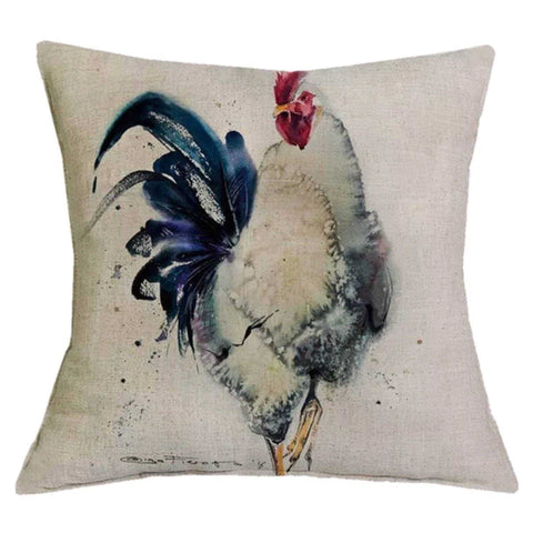 Cushion Pillow Rooster Hen Black & White - The Renmy Store