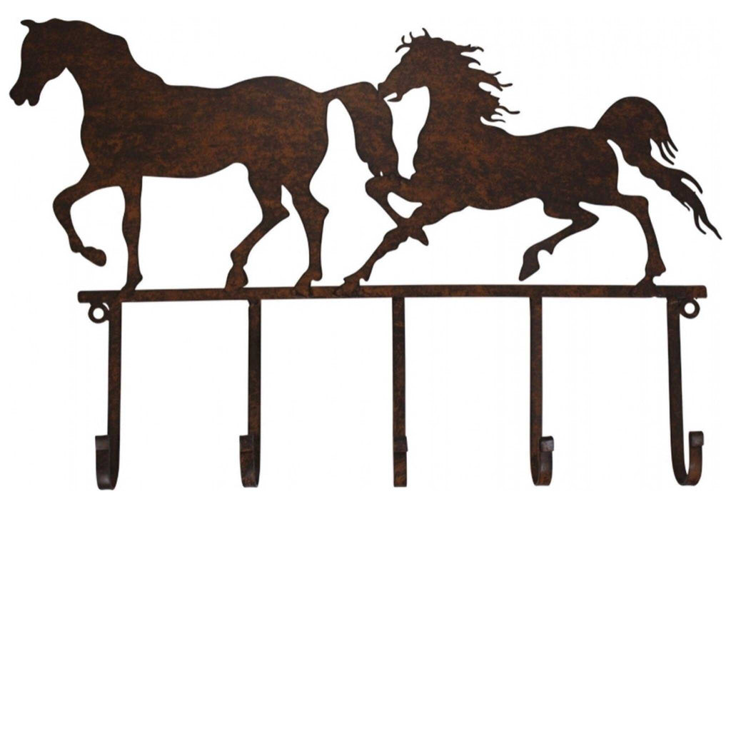 Hook Horses Horse Two Rustic Metal - The Renmy Store