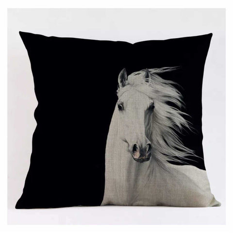 Cushion Pillow White Horse Black Background - The Renmy Store