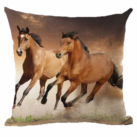 Cushion Pillow Brown Running Horses Horse - The Renmy Store