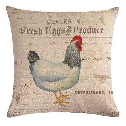 Cushion Pillow Chicken Hen Rooster Farm Fresh Eggs Vintage Country Cushions, Decorative Pillows The Renmy Store
