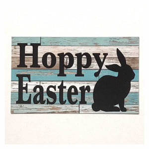 Hoppy Easter Sign Wall Plaque or Hanging Plaques & Signs The Renmy Store