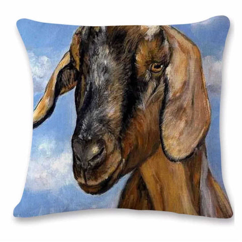 Cushion Pillow Goat Cute Brown Funky Farmhouse - The Renmy Store