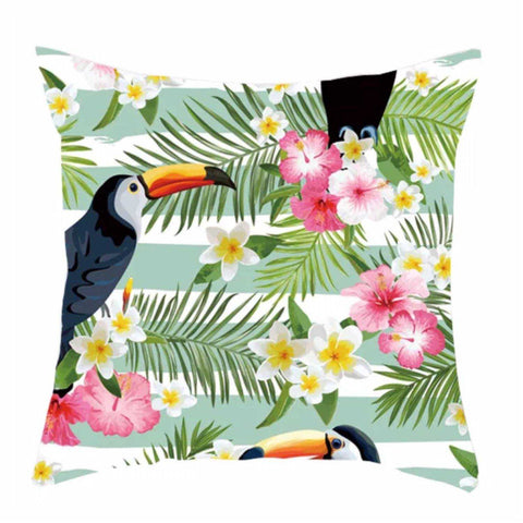 Cushion Pillow Toucan Green Hibiscus Tropical Polyester - The Renmy Store
