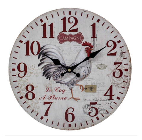 Clock Wall Rooster Red Farmhouse