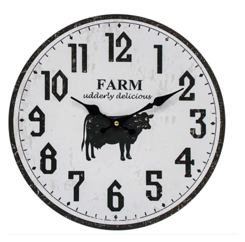 Clock Wall Cow Udderly Delicious Farmhouse