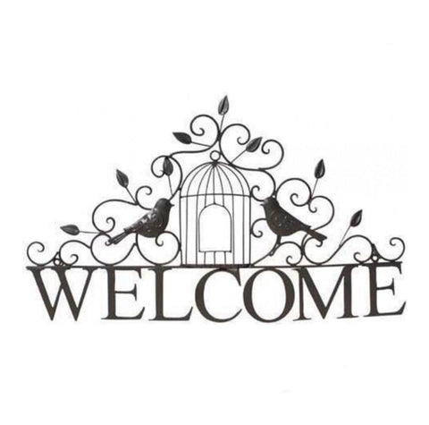 Welcome Metal Decorative with Birds Sign