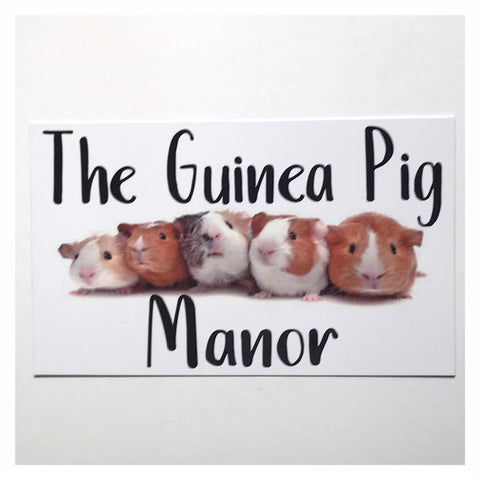 The Guinea Pig Manor Sign Wall Plaque or Hanging - The Renmy Store