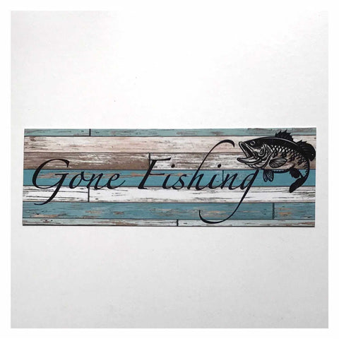 Gone Fishing with Bass Fish Blue Sign Hanging Or Plaque - The Renmy Store