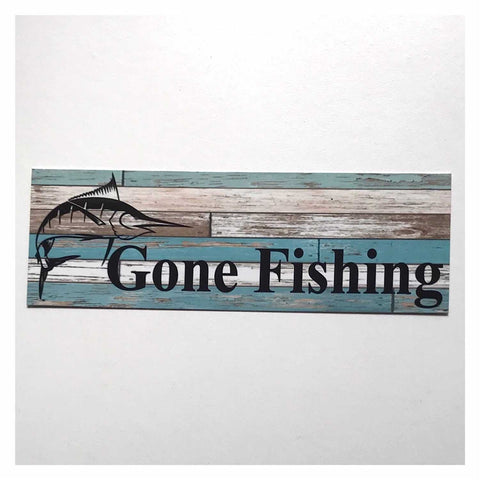 Gone Fishing with Marlin Fish Blue Sign Hanging Or Plaque - The Renmy Store