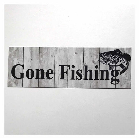 Gone Fishing with Bass Fish Grey Sign Hanging Or Plaque - The Renmy Store
