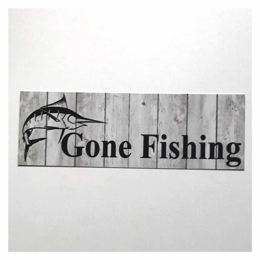 Gone Fishing with Marlin Fish Grey Sign Hanging Or Plaque - The Renmy Store