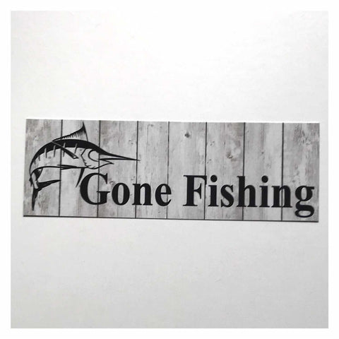 Gone Fishing with Marlin Fish Grey Sign Hanging Or Plaque Plaques & Signs The Renmy Store