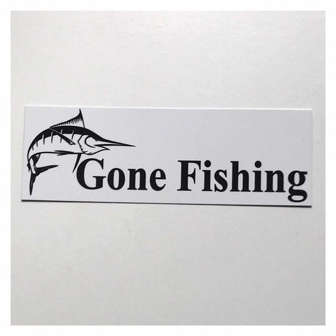 Gone Fishing with Marlin Fish White Sign Hanging Or Plaque - The Renmy Store
