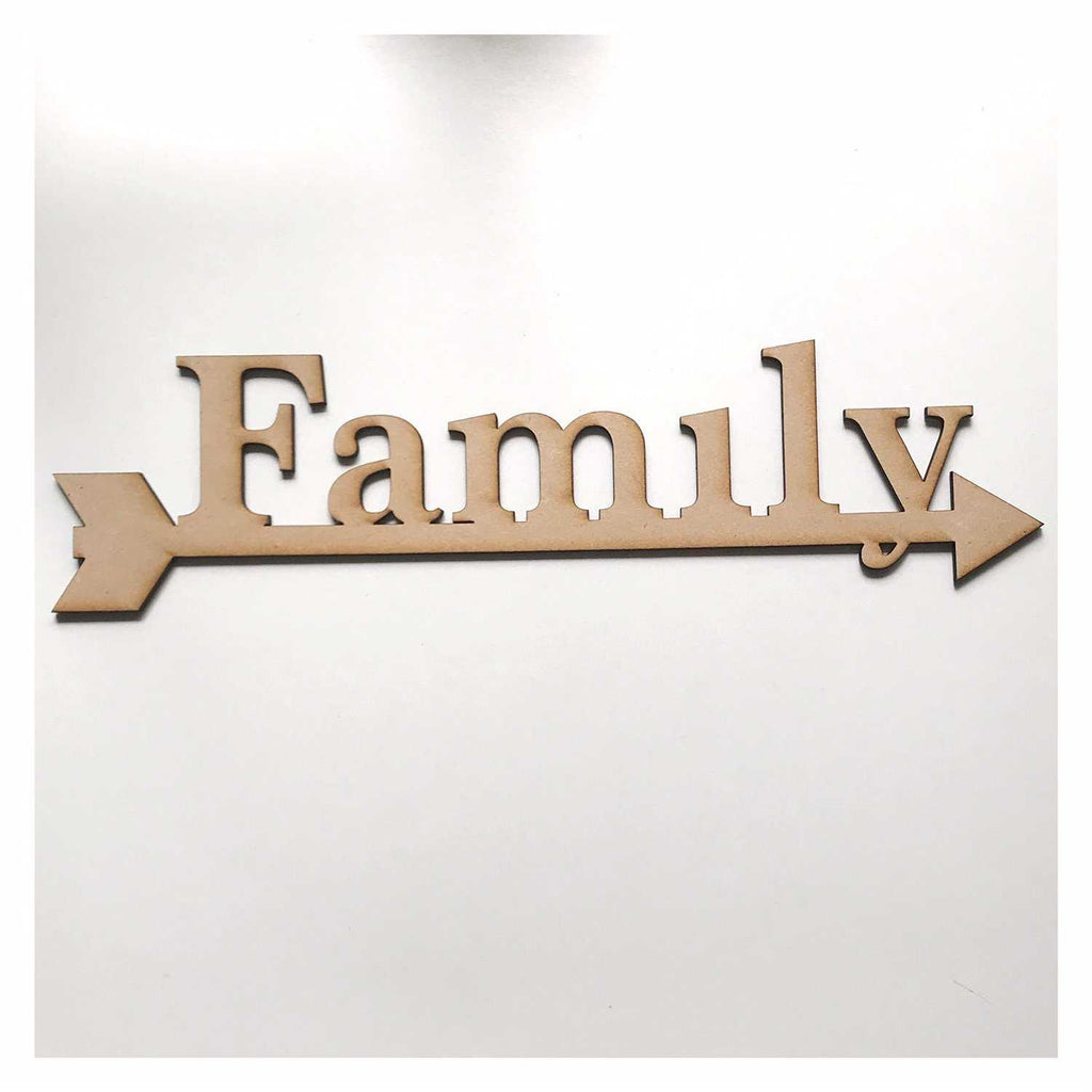 Family with Arrow Sign County MDF Wooden Word Shape Raw - The Renmy Store